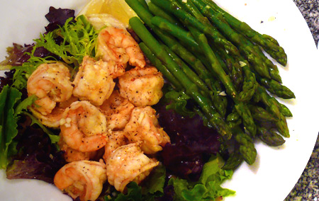 Shrimp + Asparagus + Greens = Spring