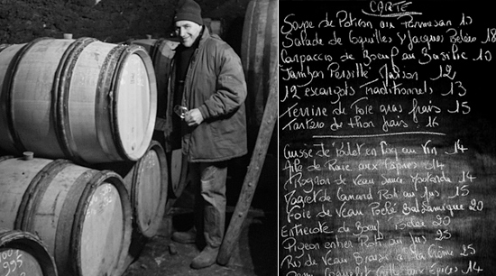 Guy Chaumont in his cave; the menu at Ma Cuisine