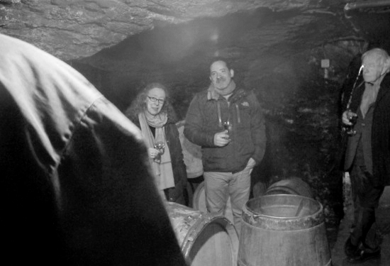 At Domaine Lafarge, L to R: Frederic Lafarge (with his back to the camera), Alice, Paul Wasserman, Michel Lafarge