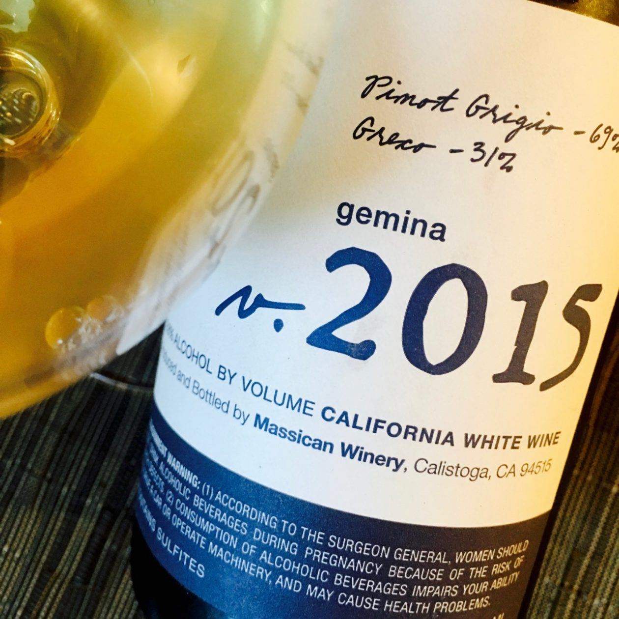 2015 Massican White Blend Gemina California