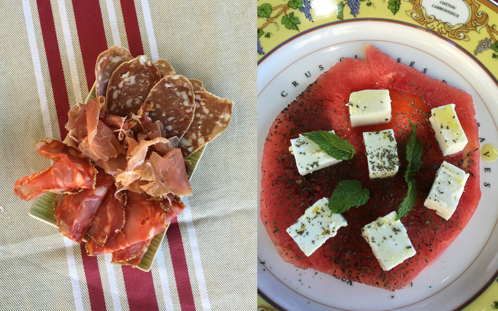 Charcuterie and watermelon-feta salad