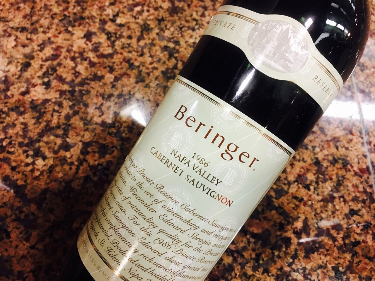 1986 Beringer Vineyards Cabernet Sauvignon Private Reserve Napa Valley