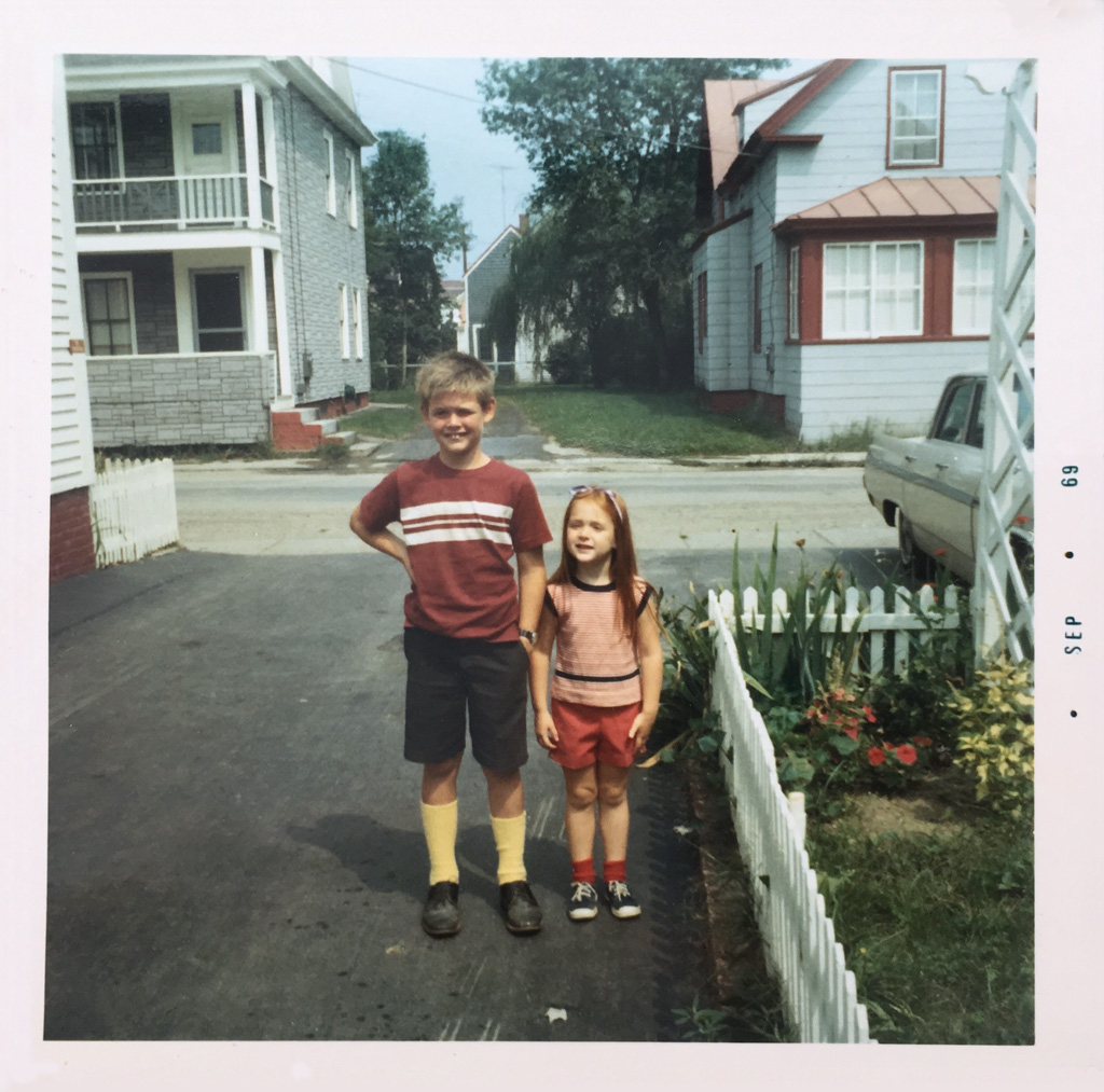 The author and her brother at their great aunt's house on Water Street, 1969