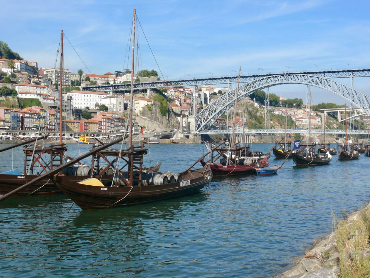 Traditional boats on the Douro in Porto, Portugal
