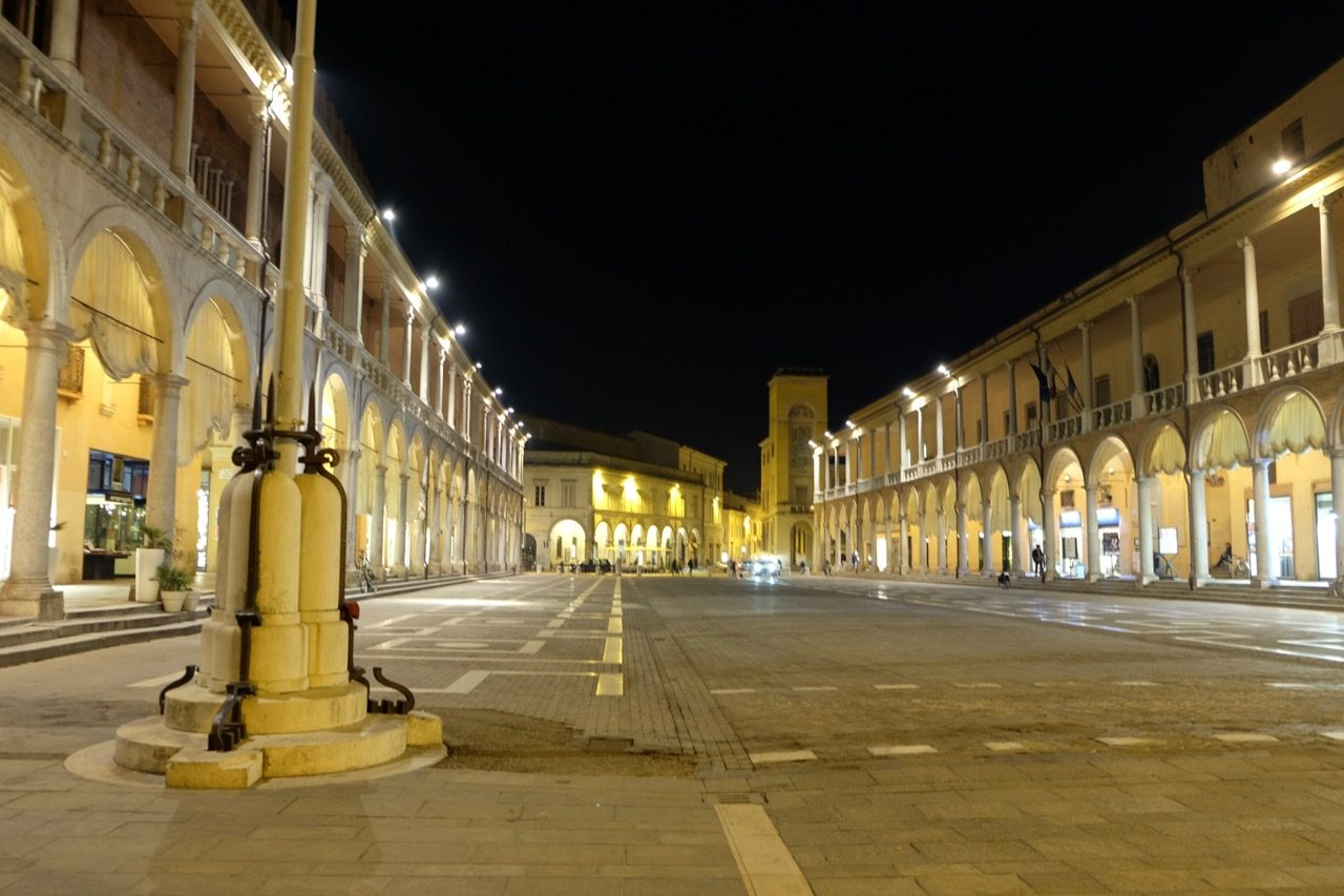Faenza's piazza by night