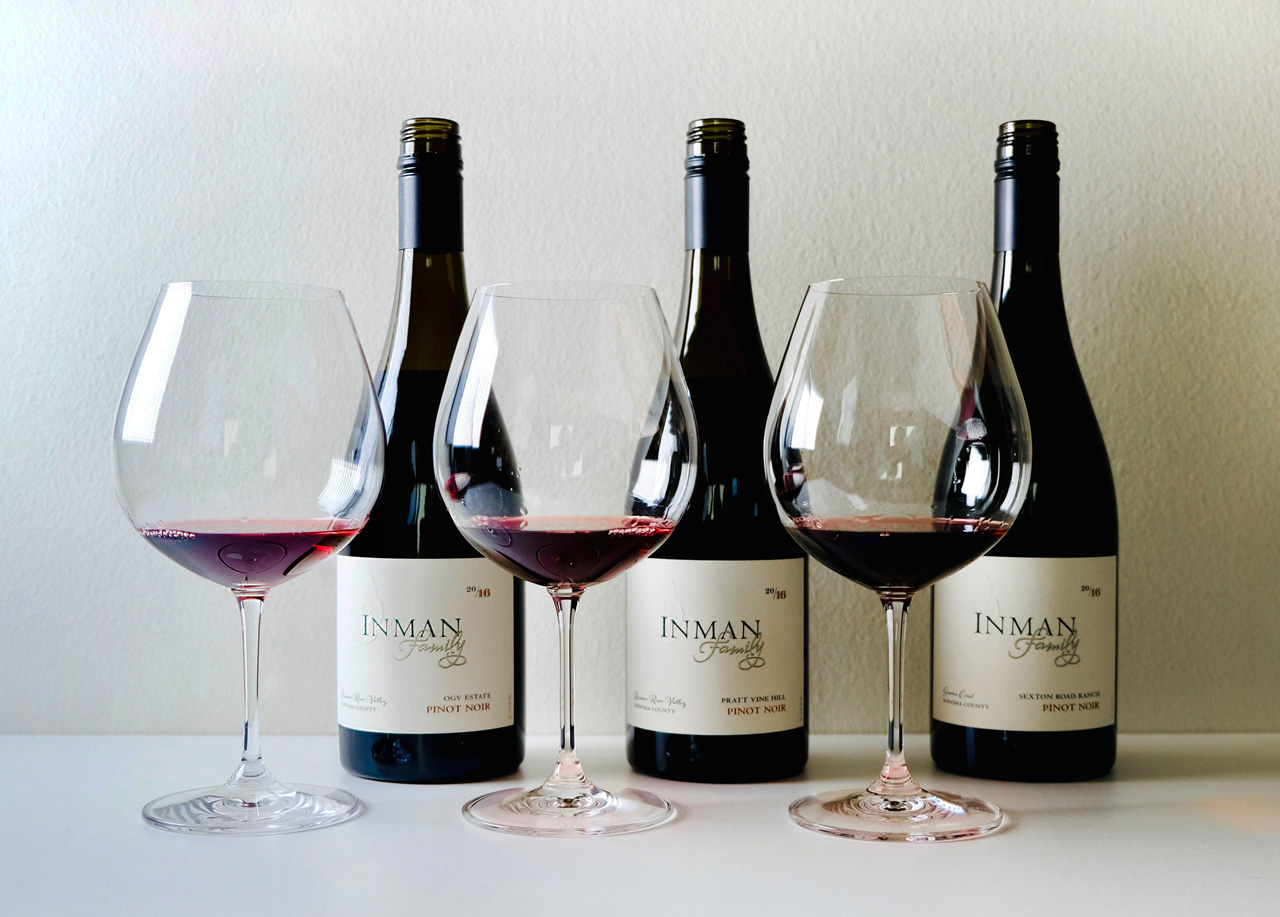 Three Inman Pinot Noirs
