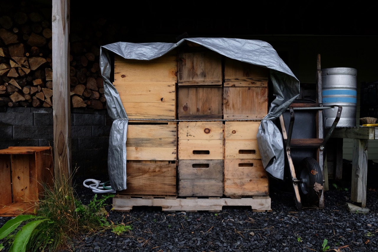 Apple crates in Teddy Weber's home cidery in Roxbury, Vermont