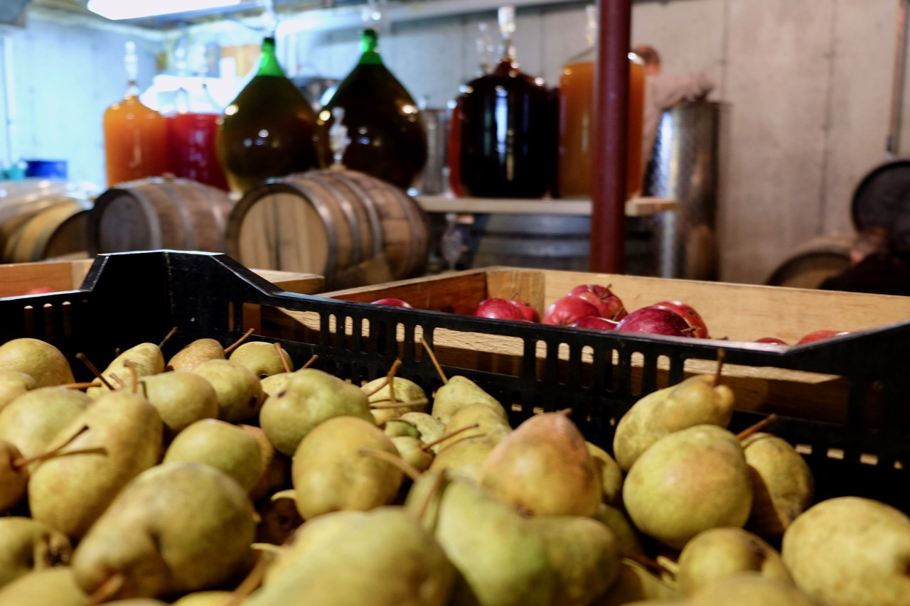 Pears and apples in Teddy Weber's home cidery in Roxbury, Vermont