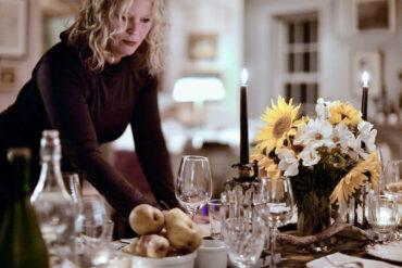 Deirdre Heekin setting the table in her home in Barnard, Vt.