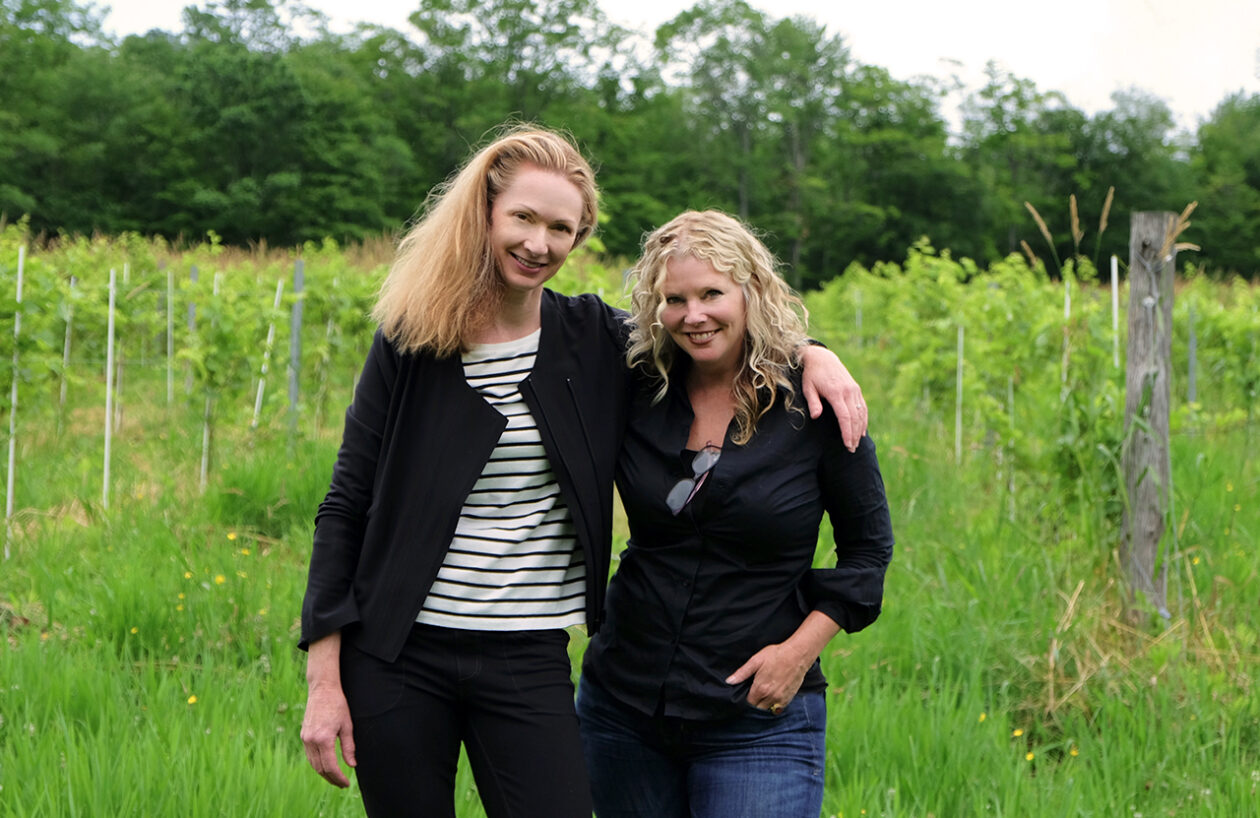Meg Maker and Deirdre Heekin in the vineyard in Barnard, Vt.